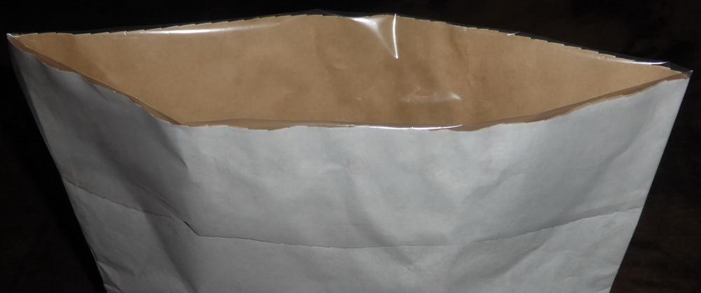 bílý papírový pytel s LDPE límcem
